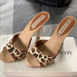 Manolo Blahnik Terry Leather Leopard Heels